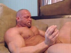 bald bodybuilders cums unto his own face 0519 3