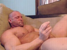 bald bodybuilders cums unto his own face 0519 10