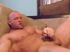 bald bodybuilders cums unto his own face 0527 3